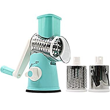 SLC Swift Rotary Drum Grater Vegetable Cheese Cutter Slicer Shredder Grinder with 3 Interchanging Ultra Sharp Cylinders Stainless Steel Drums