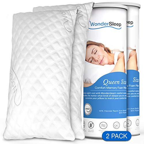 WonderSleep Premium Adjustable Loft [Queen Size 2-Pack] - Shredded Hypoallergenic Memory Foam for Home & Hotel Collection + Washable Removable Cooling Bamboo Derived Rayon Cover - 2 Pack Queen