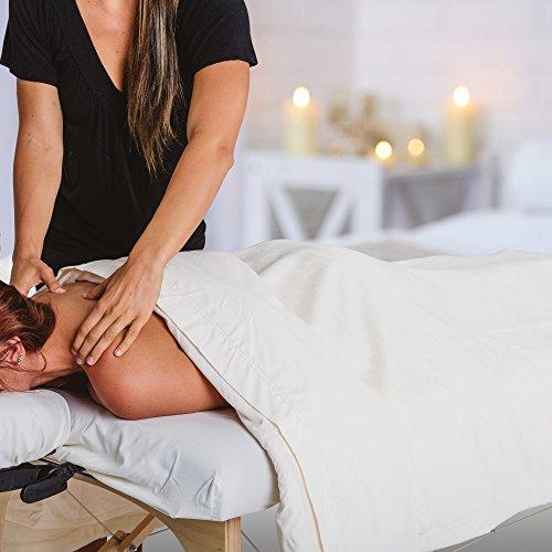 "EARTHLITE Premium Fleece Blanket – Extra Soft Brushed Micro-Fleece, Reversible, Machine-Washable, Massage Table Blanket/Bed Blanket (60"" x 90""), Cream"