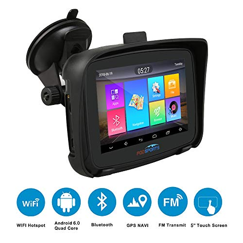 Navigation für Auto, Fodsports PKW LKW Navigationsgerät, 5 Zoll Motorrad Navigation, Android 6.0 Wasserdicht Bluetooth Navigationsgerät, Fahrspurassistent, Neuste Europa Karten und Radarwarner