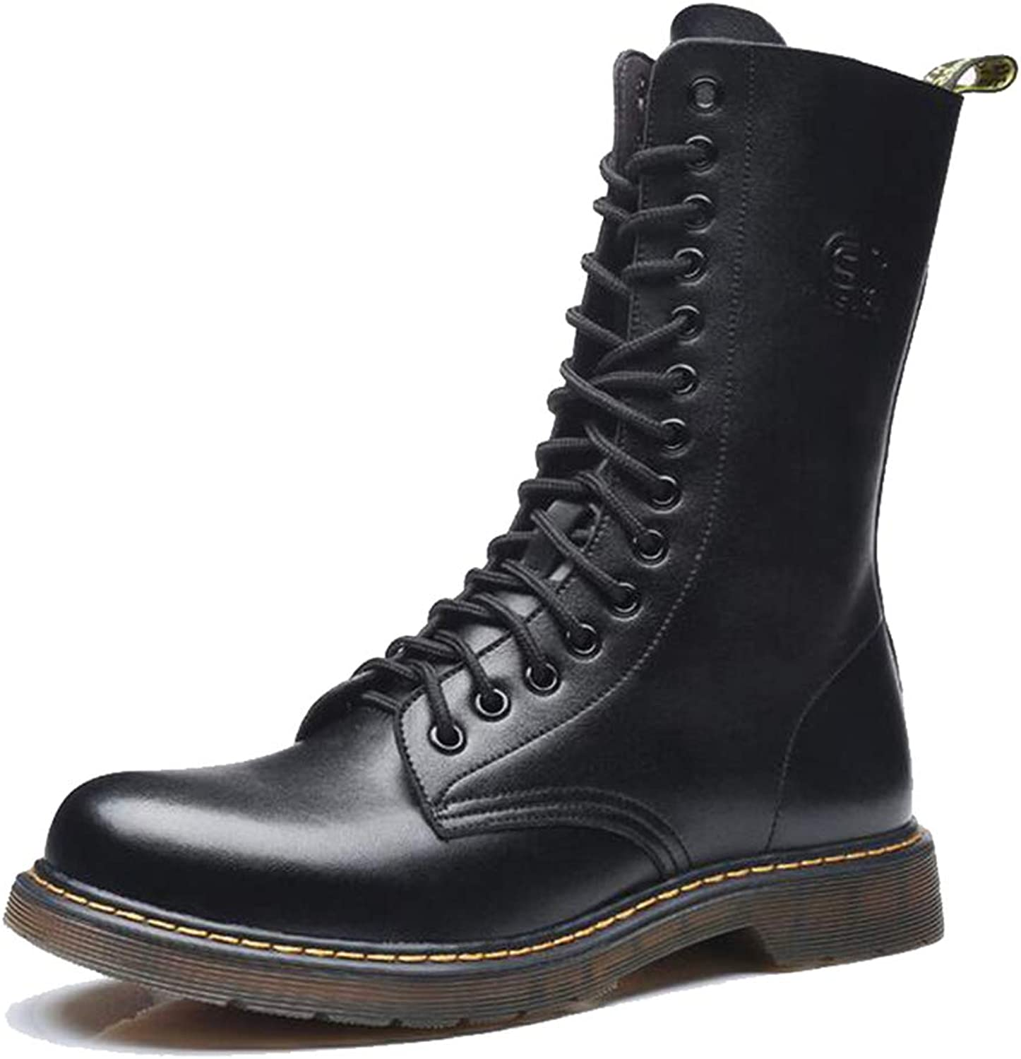 Men Martin Military Boots Leather Mid-Calf Boots Autumn Winter Cross-Tied shoes Lace Up Footwear with Non-Slip Rubber Sole in Black Brown