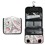 Paris Eiffel Tower Hanging Toiletry Bag,Pink Flower Floral Makeup Bag Travel Cosmetic Bag Pouch Organizer for Traveling Accessories Kit, Bathroom Shower, Toiletries, Gifts for Women Men Kids Boy Girl