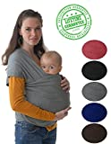 #1 Style Child Carrier. This 4-in-1 Grey Baby Wrap and Infant Sling Keeps Your Baby Close. Free e-Book With Purchase, How to Bond With Your Baby, $15 Value