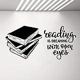 wZUN Libros inspiradores Vinilo Pared calcomanía Sala de Lectura Biblioteca librería Pared Pegatina extraíble Inspirador 68X32cm