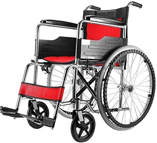 FTFTO Decoración para el hogar Sillas de Ruedas Ancianos Ligeros Plegables/Carro portátil/Patinete para Silla de Ruedas Manual Adecuado para Personas Mayores (Color: Plata)