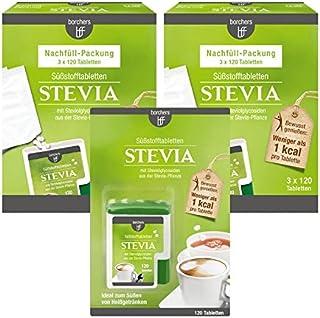 borchers Stevia Süßstofftabletten Vorteilspack . Süßungsmittel . Zuckerersatz . Tablettenspender 120 Tbl.  2 x Nachfüllpack