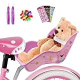 ANZOME Doll Bike Seat with Colored Ribbon DIY Decorative Decals Stickers and Star Wheel Spokes, Dolls Carrier Fits for Standard Sized Toys and Stuffed Animals Kids Bicycle Accessories for Girls Pink