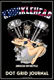 Knucklehead American Motorcycle Dot Grid Journal: Black Cover, Old School Harley Davidson USA Flag Pinup Bikini Model VTwin Rockabilly Biker Chopper Gear.   155 Page  Dot Grid Journal