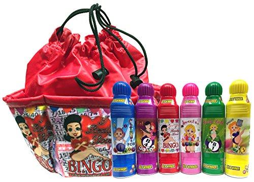 Lucky Lady Dab-O-Ink Bingo Daubers 6-Pack with'I Really Love Bingo' Bag! BONUS!!
