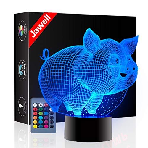 Weihnachtsgeschenk Schwein 3D Illusion Nachtlicht neben Tischlampe, Jawell 16 Farben Auto Ändern Touch Schalter Schreibtisch Dekoration Geburtstagsgeschenk mit Fernbedienung