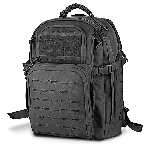 WINCENT Military Tactical Backpack, Large 3 Day Assault Pack Army Molle Utility Bug Out Bag Rucksack Backpack 45L Black
