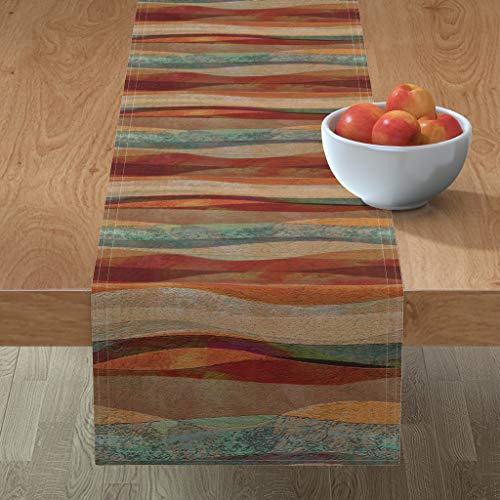 Roostery Tablerunner, Travertine Sandstone Stripes Turquoise Arizona Sw Stone Southwestern Print, Cotton Sateen Table Runner, 16in x 90in