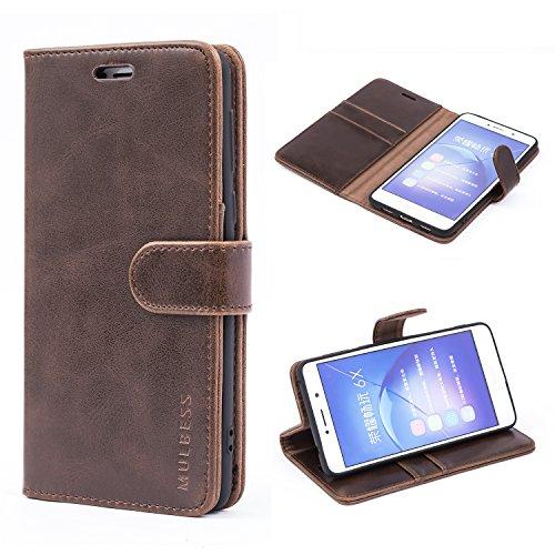 Mulbess Handyhülle für Honor 6X Hülle, Leder Flip Case Schutzhülle für Huawei Honor 6X / Honor 6X Pro Tasche, Vintage Braun