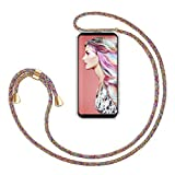 ZhinkArts Smartphone Necklace Case Compatible with Samsung Galaxy S9 - Cover with Cord Neck Strap - Mobile Phone Collar Case with Lanyard to wear in Rainbow