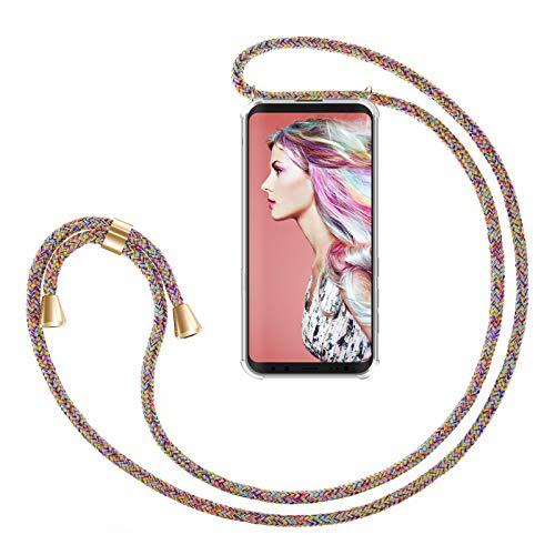 ZhinkArts Handykette kompatibel mit Samsung Galaxy S9 - Smartphone Necklace Hülle mit Band - Handyhülle Hülle mit Kette zum umhängen in Rainbow