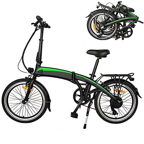 Bicicleta eléctrica Velocidad máxima de conducción 25 km/h Bicicleta montaña Adulto Plegable Electricos Bicicletas Pantalla LCD de batería de Iones de Litio Tamaño de neumático 20 Pulgadas Negro