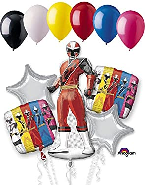 Jeckaroonie Balloons 11 pc Power Rangers Ninja Steel Balloon Bouquet Party Decoration Birthday Red
