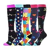 MARIJEE 5 Paar Damen Hochleistungs-Skisocken, Kompressionssocken, Sportsocken, langer Schlauch, Thermo-Socken, kniehohe Stiefelsocken (mehrfarbig, S)