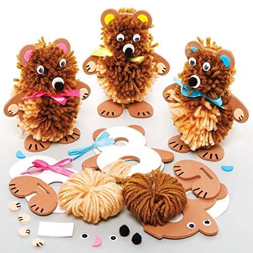 Baker Ross FE362 Kits de Manualidades con Pompones Oso de Peluche - Paquete de 3, arte infantil Haz tu propio pompón esponjoso