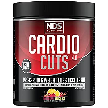 NDS Nutrition Cardio Cuts 4.0 Pre Workout Supplement - Advanced Weight Loss and Pre Cardio Formula with L-Carnitine CLA MCTs L-Glutamine and Safflower Oil - Razz Lemonade  40 Servings