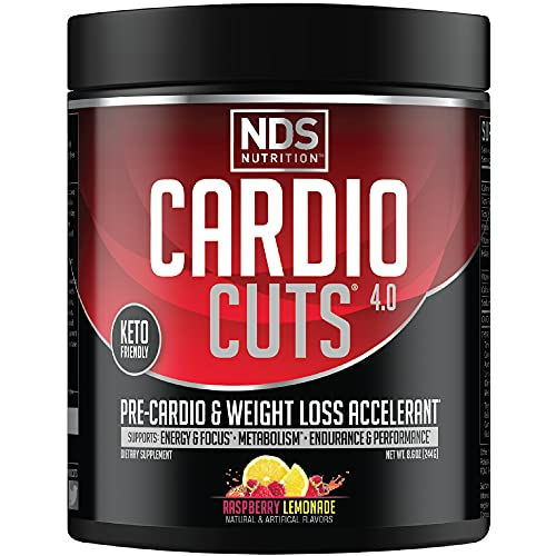 NDS Nutrition Cardio Cuts 4.0 Pre Workout Supplement - Advanced Weight Loss and Pre Cardio Formula with L-Carnitine, CLA, MCTs, L-Glutamine, and Safflower Oil - Razz Lemonade (40 Servings)