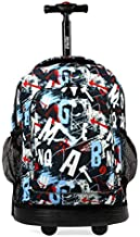 J World New York Sunny Rolling Backpack for Kids and Adults, Graffiti