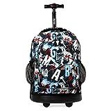 J World New York Sunny Rolling Backpack, graffiti