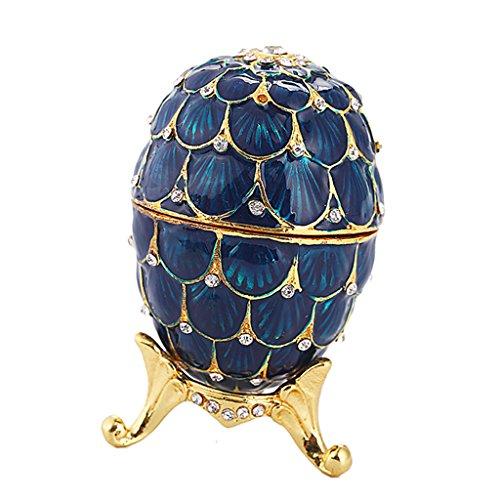 Bonarty Titular de La Caja de Regalo del Collar del Anillo de La Caja de Las Baratijas en Forma de Huevo con Bisagras Tachonadas de Cristal - Azul Oscuro, Individual