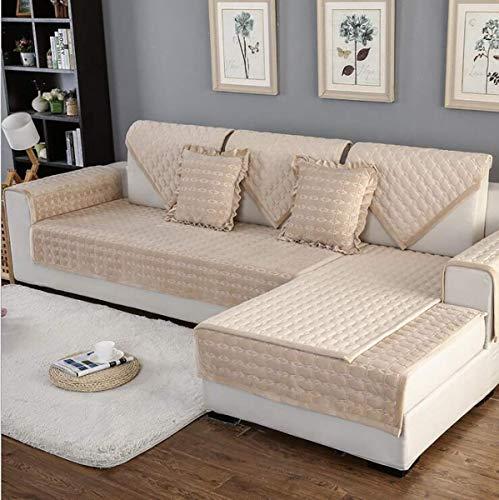 YLCJ Sofá Multifuncional con Four Seasons en Felpa, Funda de sofá para Sala de Estar Forro de sofá para sofá en Forma de L Deslizamiento Suave, Beige, 1piece70 * 70cm