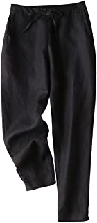 IXIMO Women's Tapered Pants 100% Linen Drawstring Back Elastic Waist Pants Trousers with Pockets
