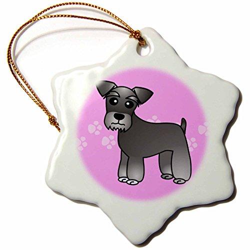 3dRose ORN_40883_1 süßer Miniatur-Schnauzer-Mantel (Salz und Pfeffer), Cartoon-Hund, Schneeflocke, Ornament, Porzellan, 7,6 cm