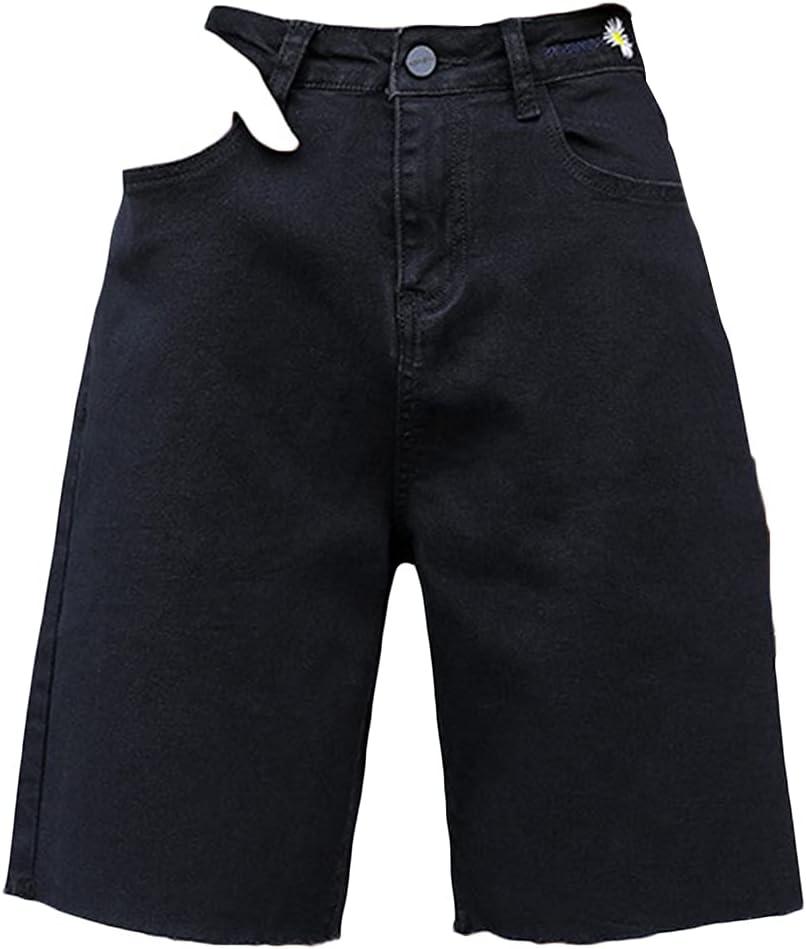 Womens Straight Leg Denim Bermuda Short Relaxed Fit High Rise Cutoff Short Jeans Loose Raw Hem Knee Length Jean Short (Black,Small)