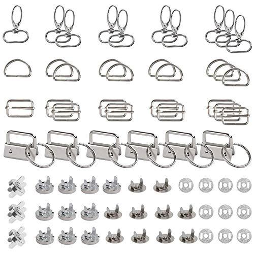 HUSZZM 46pcs D-Ringe Schiebeschnallen Metall Magnetknopf Magnetverschluss Knöpfe Gurtversteller Drehbare Karabinerhaken Drehverschlüsse für DIY Tasche Rucksack Zubehör