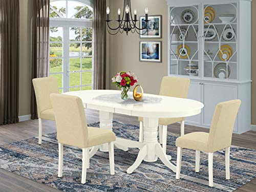 9 Pc Kitchen Set For 8 Dining Table With Leaf And Eight Parson Chair With Oak Leg And Pu Leather Color Oasis