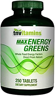 Max Energy Greens with Spirulina, Chlorella, Chlorophyll, Wheat Grass and More - 250 Tablets