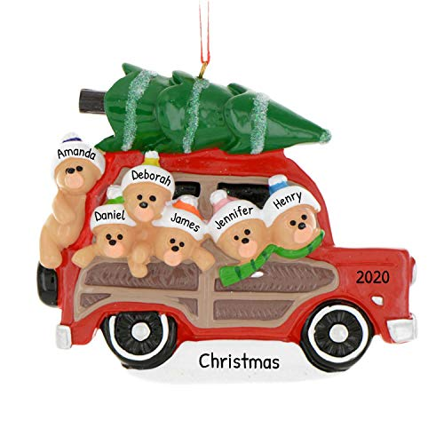 Personalized Woody Wagon Family of 6 Christmas Tree Ornament 2020 - Parent Child Friend Bears Travel Red Car Gift Present Tradition Winter Eve Year - Free Customization (Six)