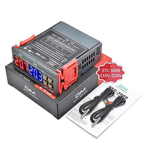 diymore STC-3008 AC 110-220V 10A Digital Temperature Controller Thermostat Regulator Two Relay Output with Cooling Heating Double NTC Sensor Probe
