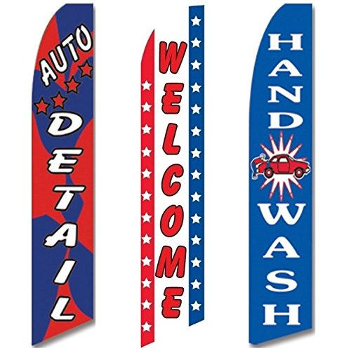 3 Swooper Flags Welcome Hand Wash Auto Detail Shop Car Wash OPEN