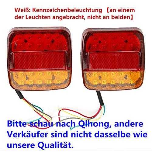 2x 8 LED Rücklicht Anhänger mit E11 PRÜFZEICHEN Universal Rückleuchten Heckleuchten Bremsleuchte Blinker Rot für Hänger Anhänger LKW Lastwagen KFZ Boot PKW Trailer