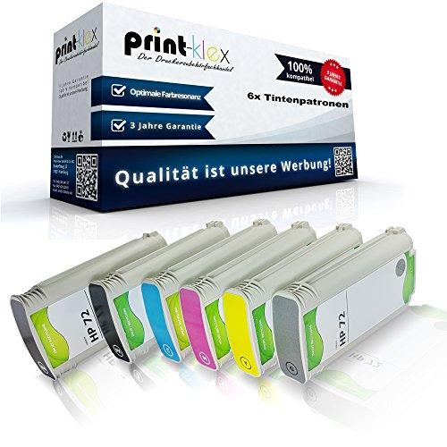 Print-Klex 6x Kompatible Tintenpatronen kompatibel für HP DesignJet T790PS 44Inch T795 C9403A C9370A C9371A C9372A C9373A C9374A 72 Magenta Yellow Foto Black Grau Schwarz Cyan - Easy Line Serie
