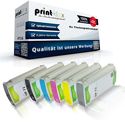 Print-Klex 6x Kompatible Tintenpatronen für HP DesignJet T790PS 44Inch T795 C9403A C9370A C9371A C9372A C9373A C9374A 72 Magenta Yellow Foto Black Grau Schwarz Cyan - Easy Line Serie