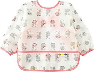 Happy Cherry Beb/é Babero Impermeable de Escuela Bandana Reci/én Nacidos para Comer Delantal Alimentaci/ón Mangas Cortas de Estampados para Ni/ños de 0-3 A/ños