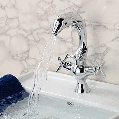 Great Features Of Trihedral Creative Dolphin Shape Double Handle Basin Sink Mixer Tap Chrome Finish ...