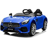 Kidzone 12V 7AH 45W 2 Seater Licensed Mercedes-Benz AMG GT Kids Ride On Car Electric Powered Vehicle High/Low Speed W/2.4G Remote Control, Horn, Radio, USB Port, AUX, Spring Suspension, Blue