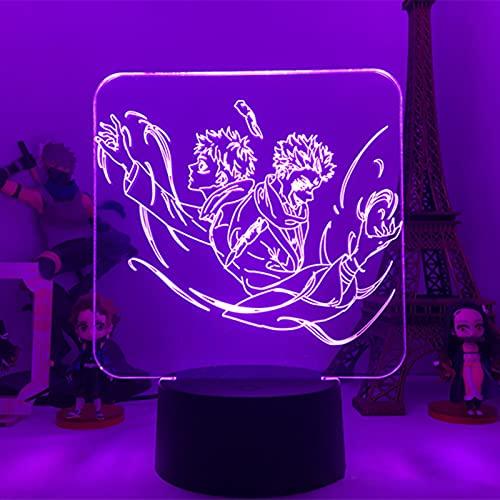 HBOY Lámpara LED De Anime Jujutsu Kaisen Figura De Manga Luz De Noche GOJO SATORU Luz De Escritorio Ilusión 3D con 16 Colores Cambian De Control Remoto para Fans Cumpleaños Navidad Regalo Halloween,P
