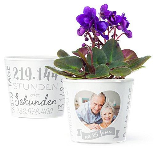 Facepot Silberhochzeit Geschenk Blumentopf (ø16cm) | Deko Geschenke zum 25. Hochzeitstag oder Silberne Hochzeit mit Herz Bilderrahmen für EIN Foto (10x15cm) | Glücklich verheiratet - 25 Jahre