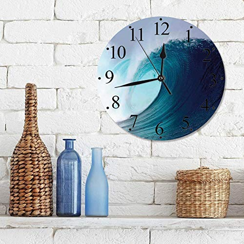 Big horn deer Silencioso Wall Clock Decoración de hogar de Reloj de Redondo,Ocean Decor, Tropical Surfing Wave en un mar ventoso Indonesia Sumatra Decorativo,para Hogar, Sala de Estar, el Aula