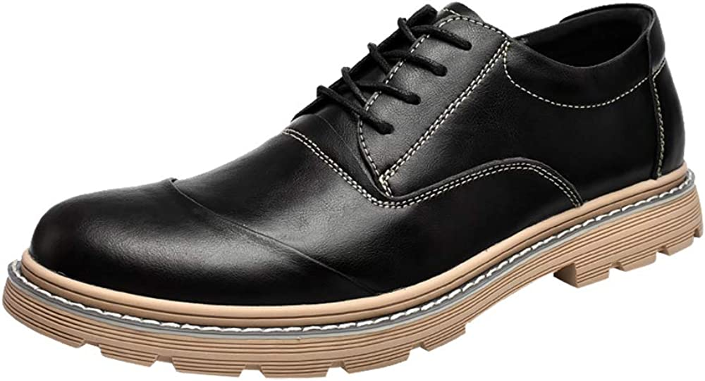 Men's Dress Shoes Leather Oxford Cap Toe lace up Casual for Men