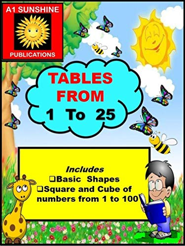 Multiplication Tables from 1 to 25: Includes Basic Geometrical Shapes , Square and Cube of Numbers from 1 to 100 (English Edition)