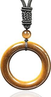 YOOKIM Tiger Eye Crystal Necklace,Lucky Circle Shaped Amulet Natural Pendant for Women Men Energy Chakra Healing Stone.